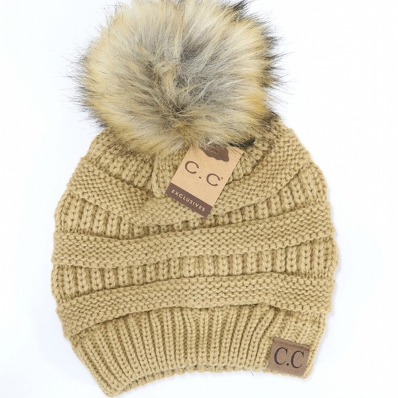 NWT Tan CC Beanie with Pom Pom 20e60a678d1